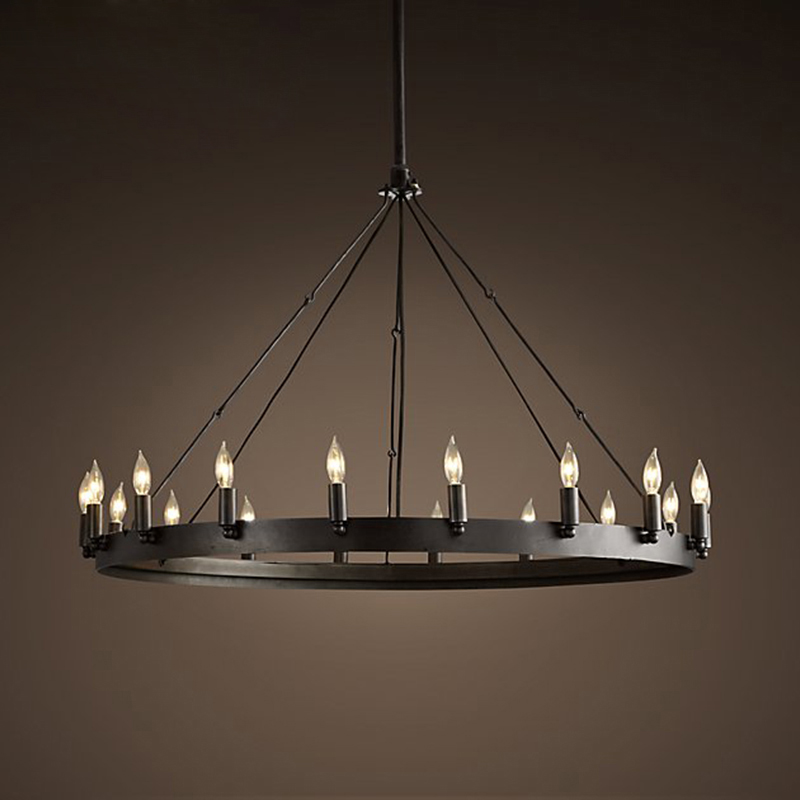 Loft amerykański Retro żelazna lampa wisząca w stylu Vintage przemysłowe E14 lampa opuszczana LED okrągły Cafe restauracja/Bar rycerz świecznik