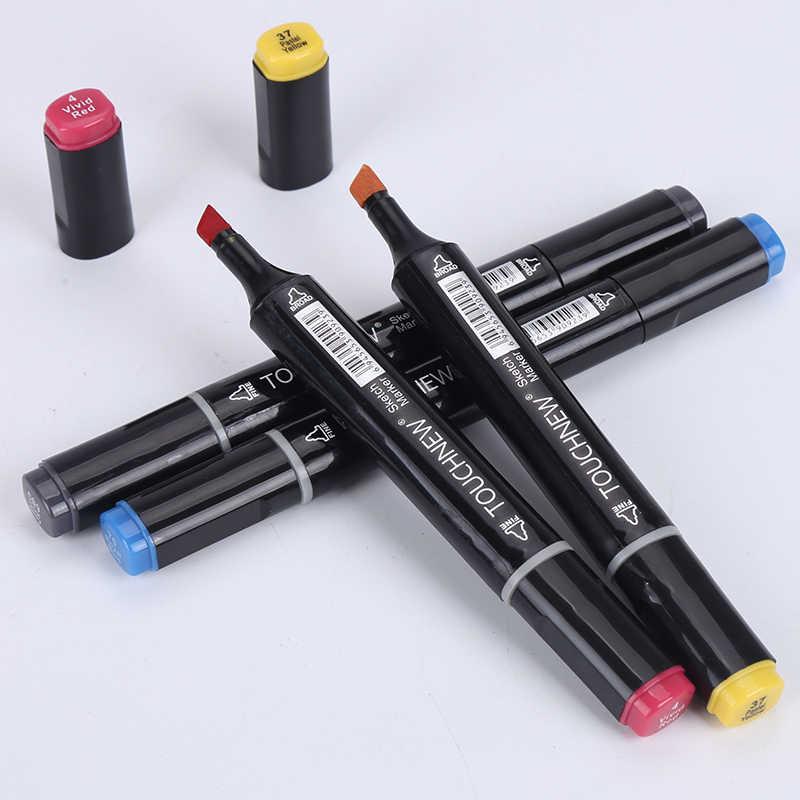 Nuevos marcadores de bocetos de colores 30/40/60/80 marcadores de Alcohol de doble cabeza para dibujar animación de Manga diseño arte suministros