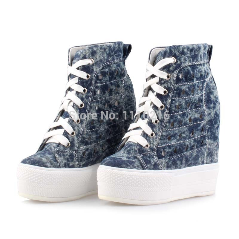 2017 denim canvas wedge heels cut-outs high top casual shoes lace up hollow ultra breathable platform height increasing boots new arrival women high top lace up denim casual shoes handmade sewing big rhinestone canvas ankle boots height increasing shoes