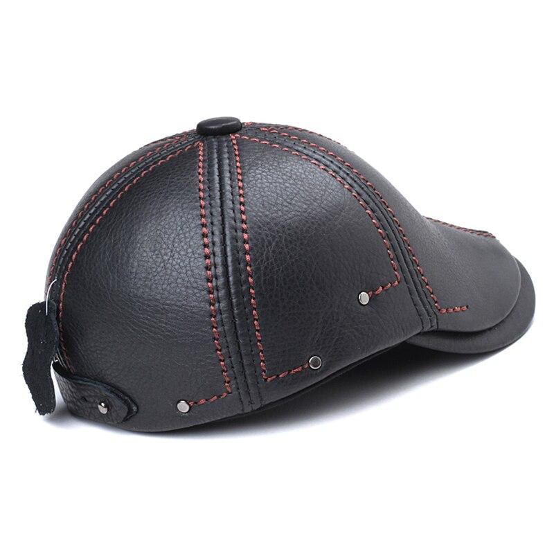 Svadilfari Nuevo 2018 cuero genuino a prueba de viento Duckbill hombre  mujer gorra de piel de vaca Gorras orejas negras casquetas sombreros para  boinas ... 4c8a561a72b