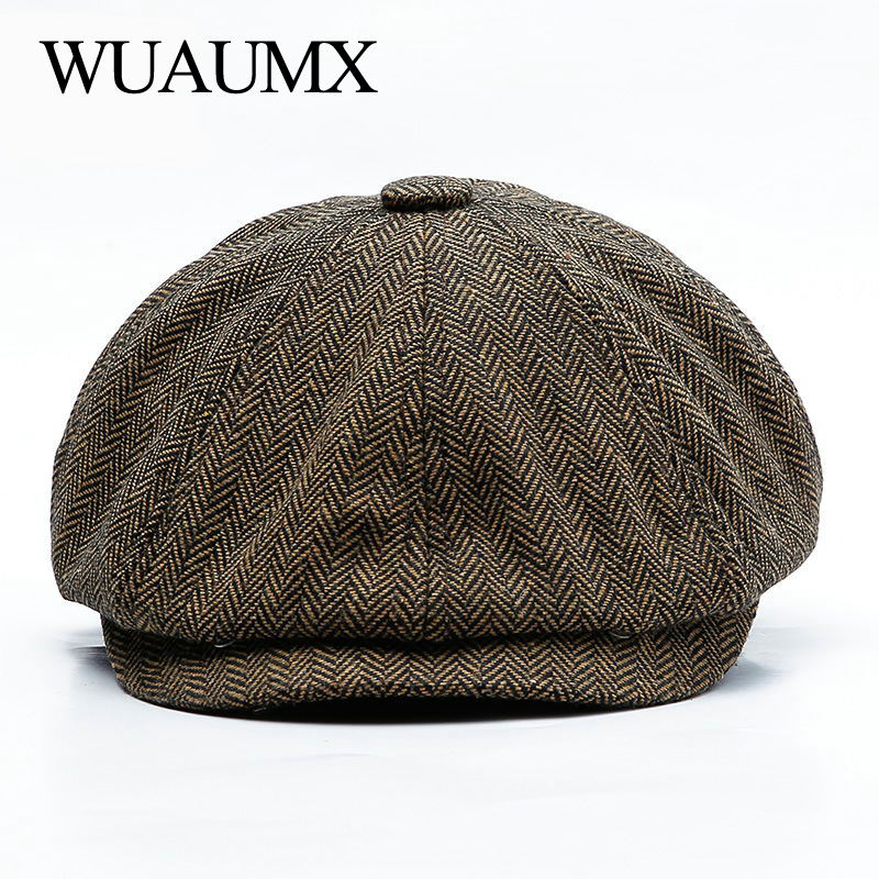 Wuaumx Unisex Autumn Winter Newsboy Caps Men And Women Warm Tweed Octagonal Hat For Male Detective Hats Retro Flat Caps Chapeau