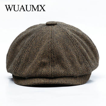 wuaumx genuine cow leather military hats for men fall winter men s cowskin hat with ear flap real cowhide flat top baseball caps Wuaumx Unisex Autumn Winter Newsboy Caps Men And Women Warm Tweed Octagonal Hat For Male Detective Hats Retro Flat Caps chapeau