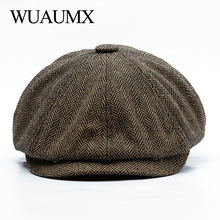 Wuaumx Unisex Autumn Winter Newsboy Caps Men And Women Warm Tweed Octagonal Hat