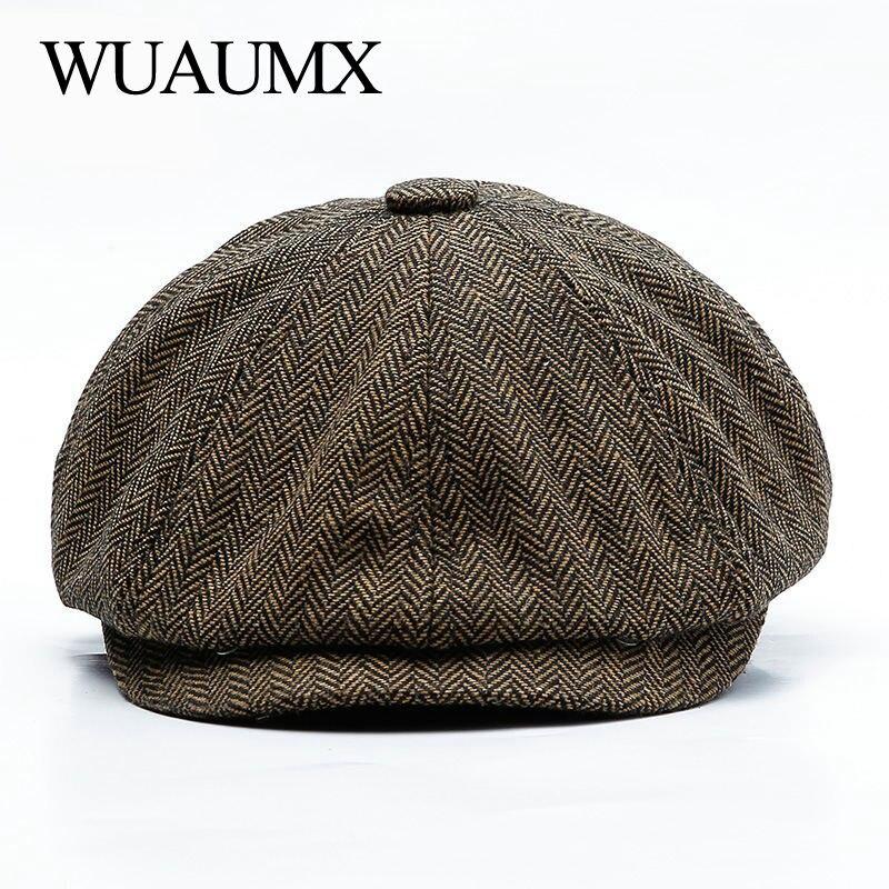 Wuaumx Unisex Herbst Winter Newsboy Caps Männer Und Frauen Warme Tweed Achteckigen Hut Für Männlichen Detektiv Hüte Retro Flache Kappen chapeau
