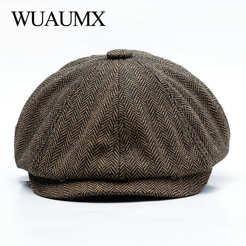 Wuaumx Unisex Otoño Invierno Newsboy Caps hombres y mujeres caliente Tweed octogonal sombrero para hombre detectives sombreros Retro tapas, sombrero hombre, gorras mujer, gorros, sombreros mujer