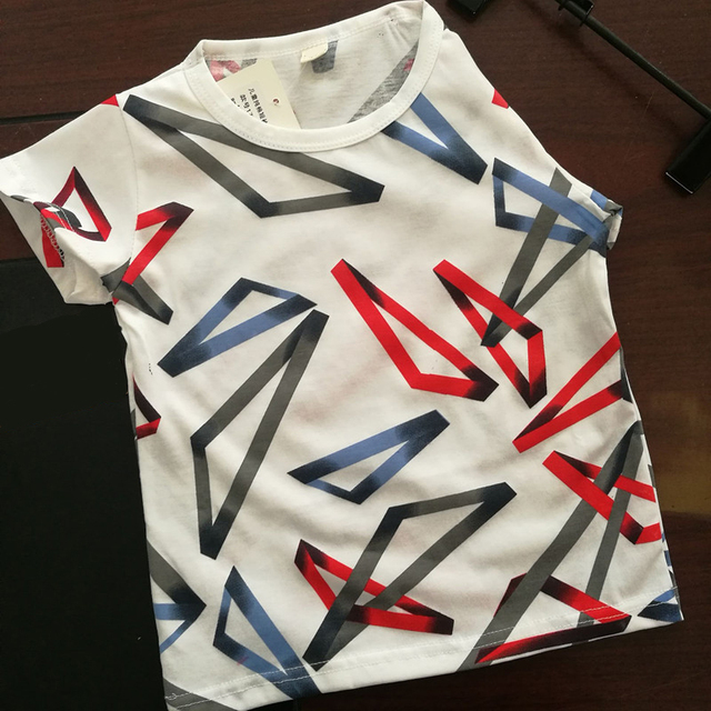 MRJMSL ילדי חולצות ילדים בגדי בנות כותנה חולצות T עבור תינוק בנים קצר שרוול קיץ חולצות חוף 2019 משולש נוצה