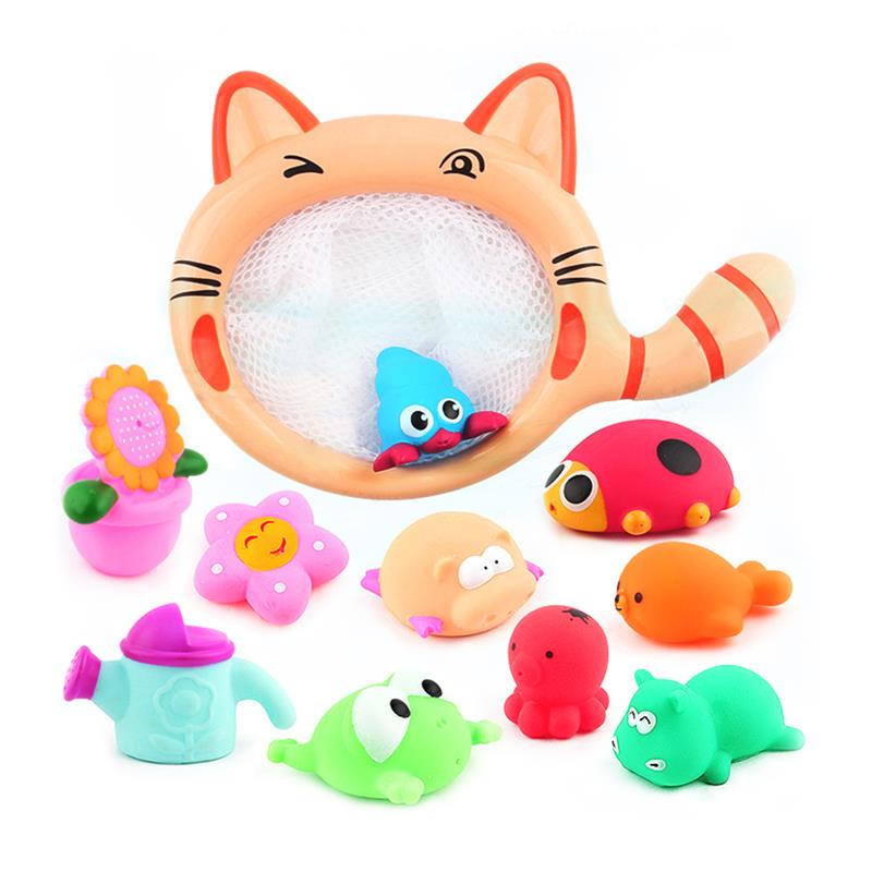 1 Set Cartoon Cat Fishing Net Baby Bath Toy Kids Swimming Dolls Bathtub Playset Wash Play Cartoon Educational Toys Multi Animals