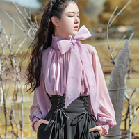 ree Shipping Boshow 2018 New Fashion White Purple Bandage Shirt For Women Long Lantern Sleeve Ruffles Blouses Tops Spring Autumn