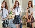 Uniformes Escolares A Cuadros Faldas de otoño Versión Coreana de la Británica Estudiantes Japoneses Trajes Blancos de Manga Corta Chicas XX001