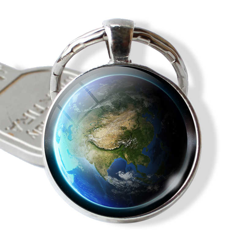 Planeta terra Mapa Global de Vidro Cabochão Pingente De Metal Chaveiro Keychain Chaveiro de Prata Acessórios de Moda Jóias