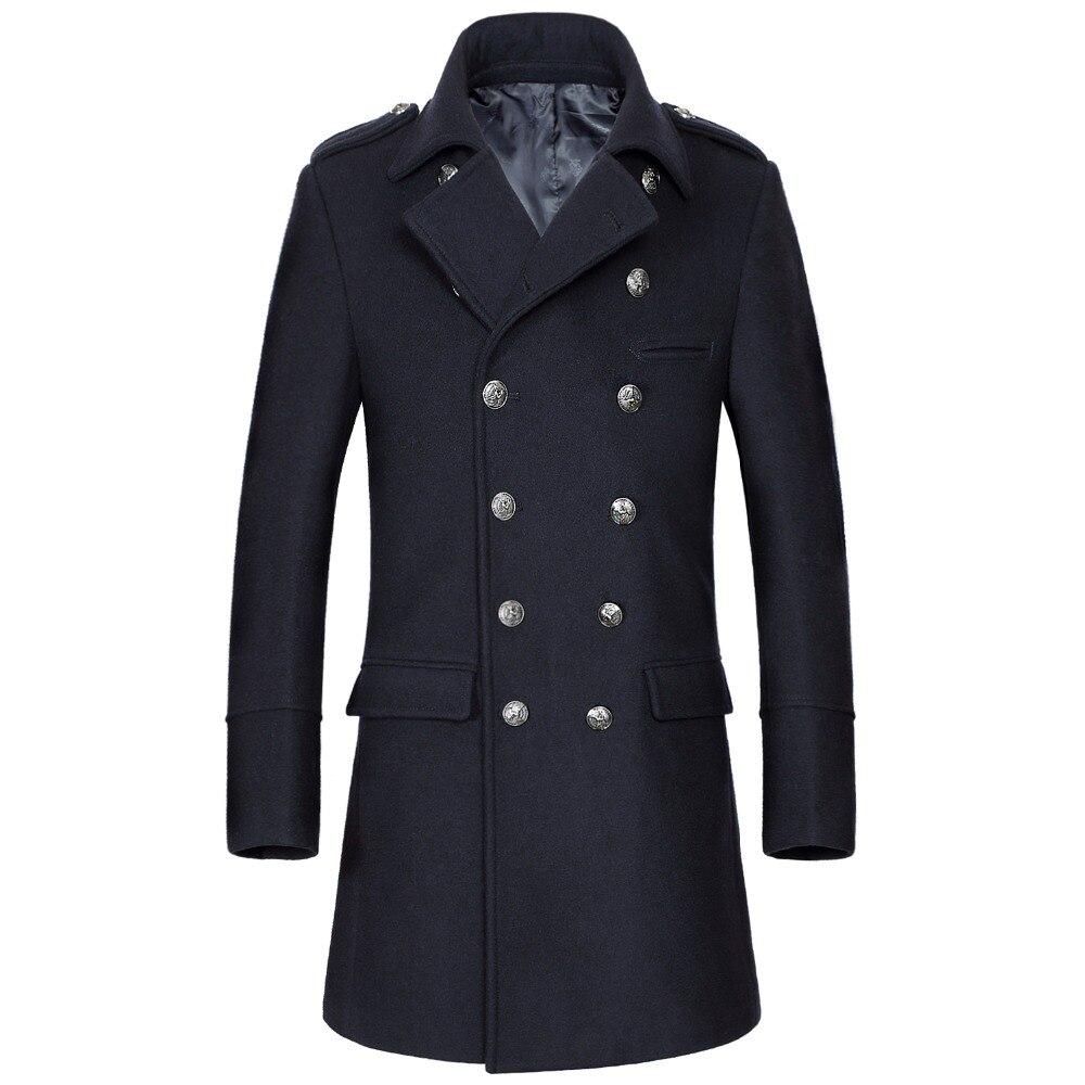 Shanghai Story 2018 hiver décontracté Double boutonnage manteau hommes col montant Slim Fit Long Trench manteau hommes laine pois manteau 2 couleurs