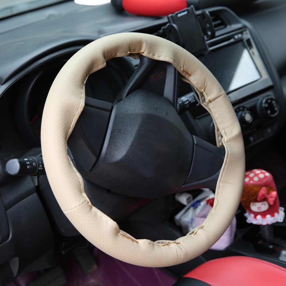 4 اللون Texture بها بنفسك الملمس لينة السيارات السيارات غطاء عجلة القيادة مع الإبر و الموضوع الجلود الاصطناعية سيارة يغطي السيارات التصميم