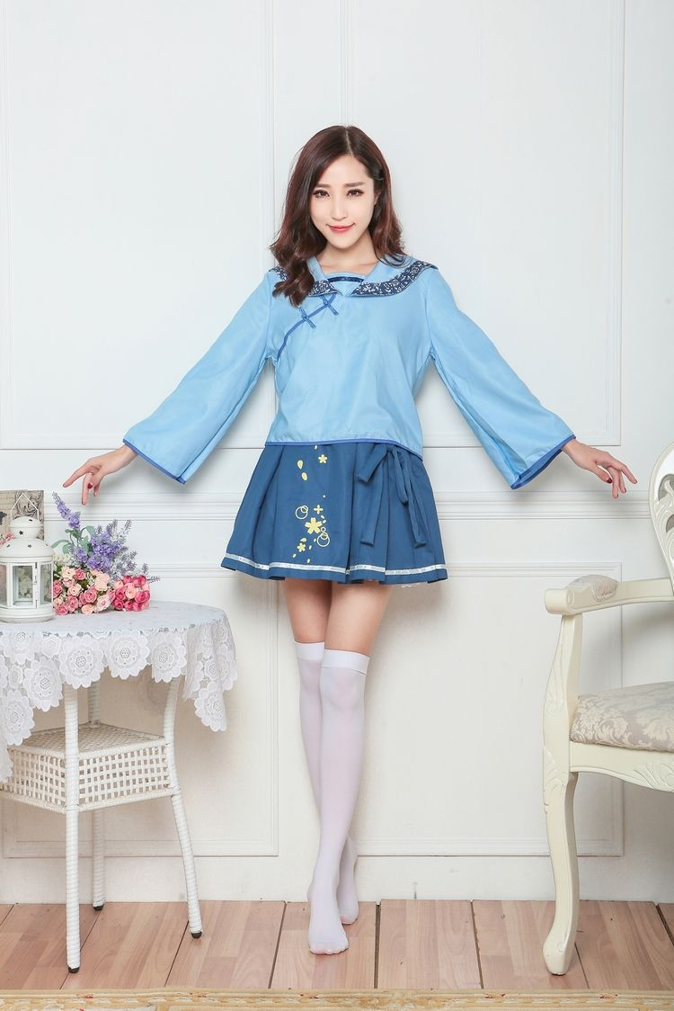 Halloween Student minium blue cosplay costume erotic disfraces adulto Clothing game costume for women fancy party anime costume