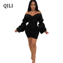 QILI Women Off The Shoulder Dress Black Wine-red Puff Sleeve Pleated Skinny Wrap Mini Dresses Sexy Short