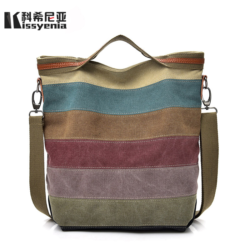 Kissyenia Women Handbags 2018 Brand Designer Canvas Casual Shoulder Bags for Women Tote Shopping Bags Top Handle Bags KS1003 women canvas stripe tote bags casual shopping bags simple shoulder bags lady handtassen sac bandouliere bolso mujer clutch