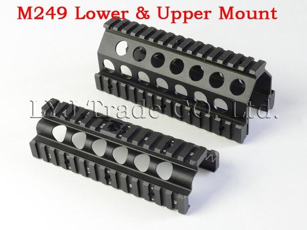 ФОТО Aluminum CNC M249  Lower and Upper Scope mount Handguard 6pcs RIS Rails System Hunting Shooting Tactical Quad Rail Mount