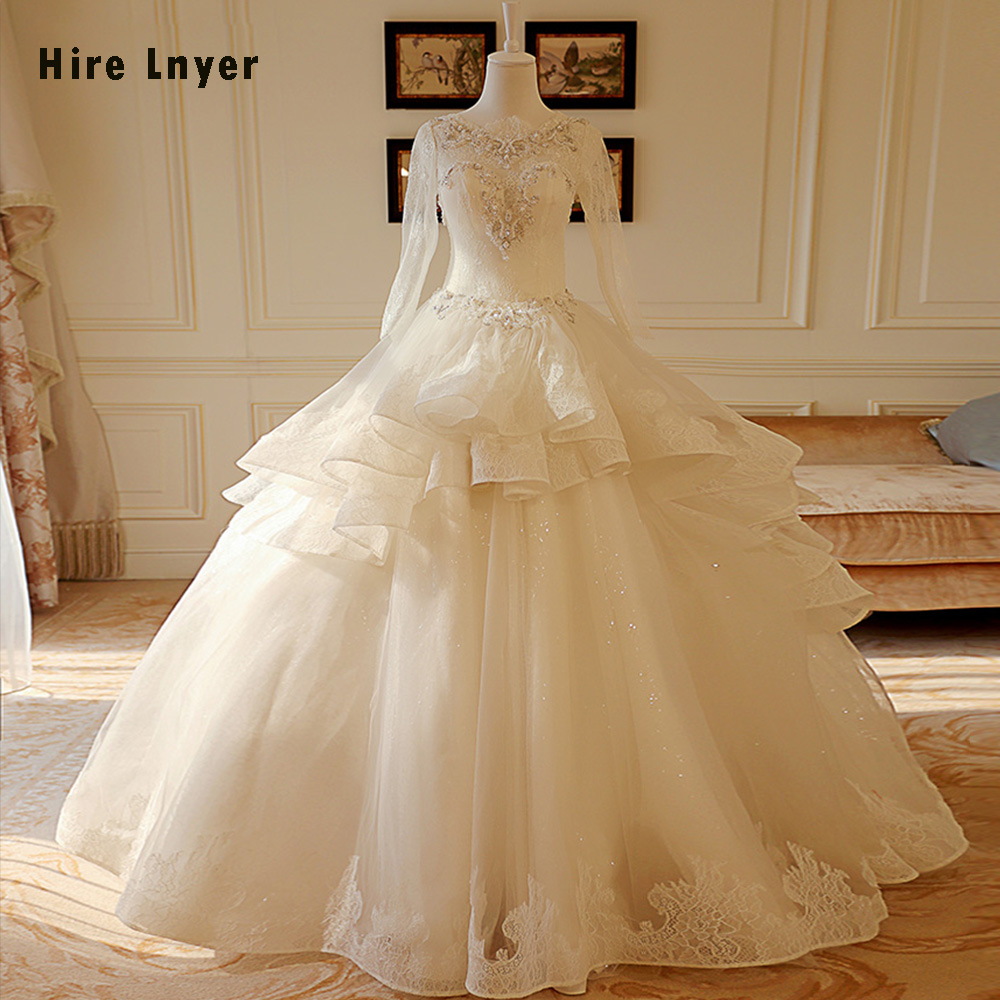1f4d875757 HIRE LNYER Custom Made Long Sleeve China Bridal Gowns Lace Sparkly Beading  Pearls Princess Ball Gown Wedding Dress 2019 Gelinlik ~ Premium Deal July  2019