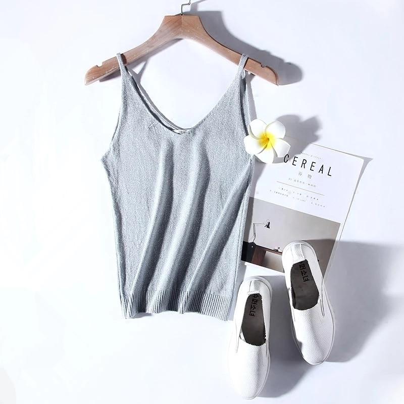 Marwin New-coming Summer Autumn Silm Sexy V-neck Knit Shiner Base Shirt Gallus Waistcoat Women Sweater
