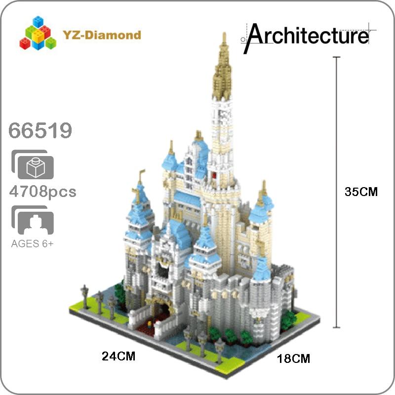 YZ  4708Pcs Architecture Amusement Park Big Castle Mini Building Nano Block