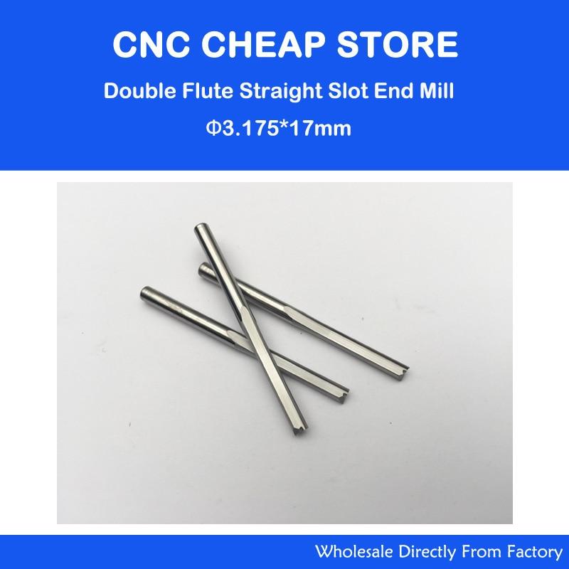 10db 3,175mm * 17mm egyenes nyílású favágó CNC tömör keményfém két egyenes fúrófej CNC útválasztó bit vágó