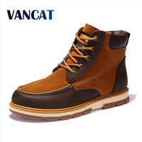 VANCAT Brand Newest Men Winter Boots High Quality Leather Wear Resisting Casual Shoes Working Fahsion Men
