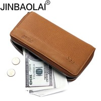 JINBAOLAI New Luxury Brand Men S Wallets Long Purse Wallet Male Clutch Genuine Leather Zipper Fashion