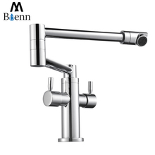 Contemporary Brass Folding Kitchen Faucet  Sink Mixer Tap Double Handle Single Hole Hot and Cold Water Taps Chrome Faucets недорого