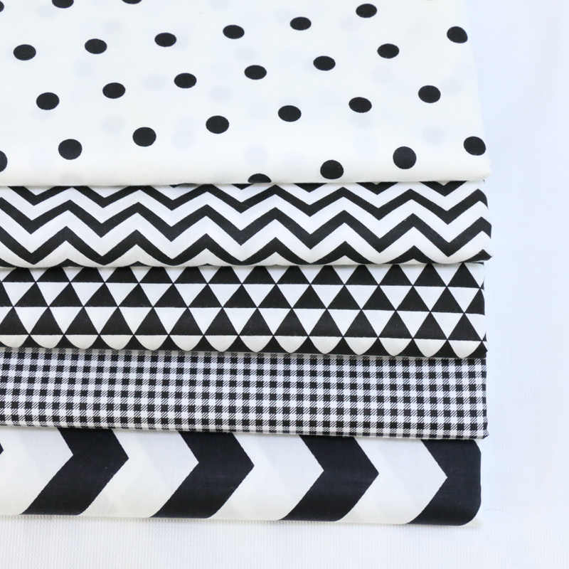 Twill Cotton Fabric diy sewing baby cloth home textileQuilting scrapbooking Patchwork Fabric diy tecido tissue Black White Style