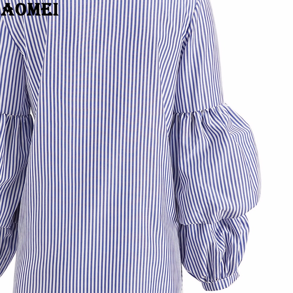 1a3d34b30c8 Ladies Blue Striped Shirt Dress for Women Peplum Plus Size 3XL Tunics  Summer Fall Office Ladies Dresses Robe Gowns Top Blusas-in Dresses from  Women s ...