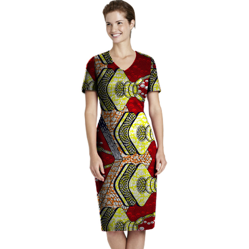 Fashion african dress short sleeve design v neck women's outfit dashiki clothes ladies party wear africa clothing