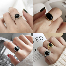 Fine Jewelry Circle/oval shape black agate 925 sterling silver rings for women Geometric Gemstone Ring Fingers Free Shipping недорого
