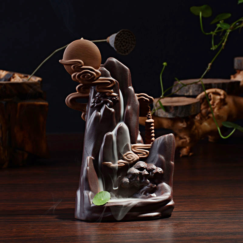 Creativo Un Luminoso Luna Piena Bruciatore di Riflusso Torre Bruciatore di Incenso Coni Possessore di incenso di Ceramica Incensiere Casa Decorazione Sala Da Tè