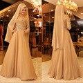 2017 Muçulmanos Vestidos de Noite Alta Pescoço Apliques de Contas Mangas Compridas Muçulmano Hijab Vestidos de Noite do baile de Finalistas Vestido de Caftan Vestido ALA01