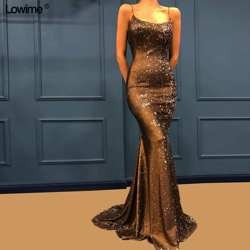 Special Sequined Fabric Mermaid Formal Evening   Dress   2018 Long   Prom   Gowns Spaghetti Strap Sexy Women   Prom     Dress
