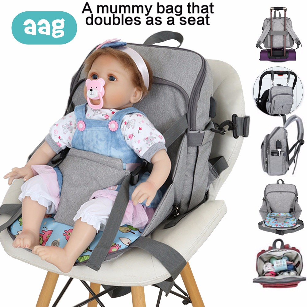 AAG Large Capacity Mummy Bag Maternity Diaper Nappy Changing Cosmetic Storage Travel Wash Bag Waterproof Backpack Mummy Bags 30