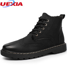 UEXIA Men Ankle Boots Fashion Footwear Leather Men's Shoes Lace -up Casual Short Snow Boot Winter Plush Fur High-Top Work Round