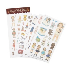 6sheets/pack Cartoon Girl Paper Sticker Diary Note Decoration Gift Multifunction Stickers Scrapbooking