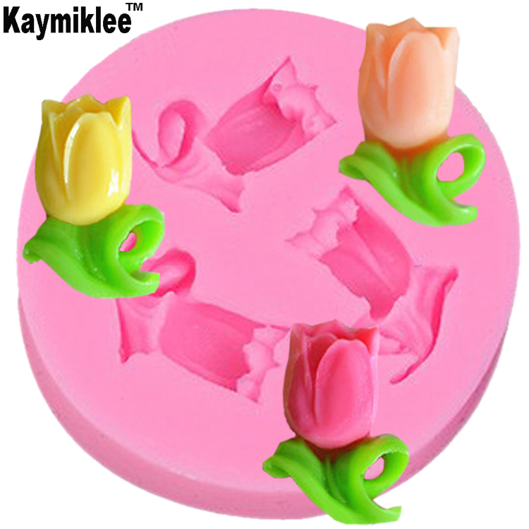 Kaymiklee M012  Small Size Flower&Tulips Shape Silicone 3D Fondant Cake Lace Mold Tools Soap Chocolate Mould For Decorating