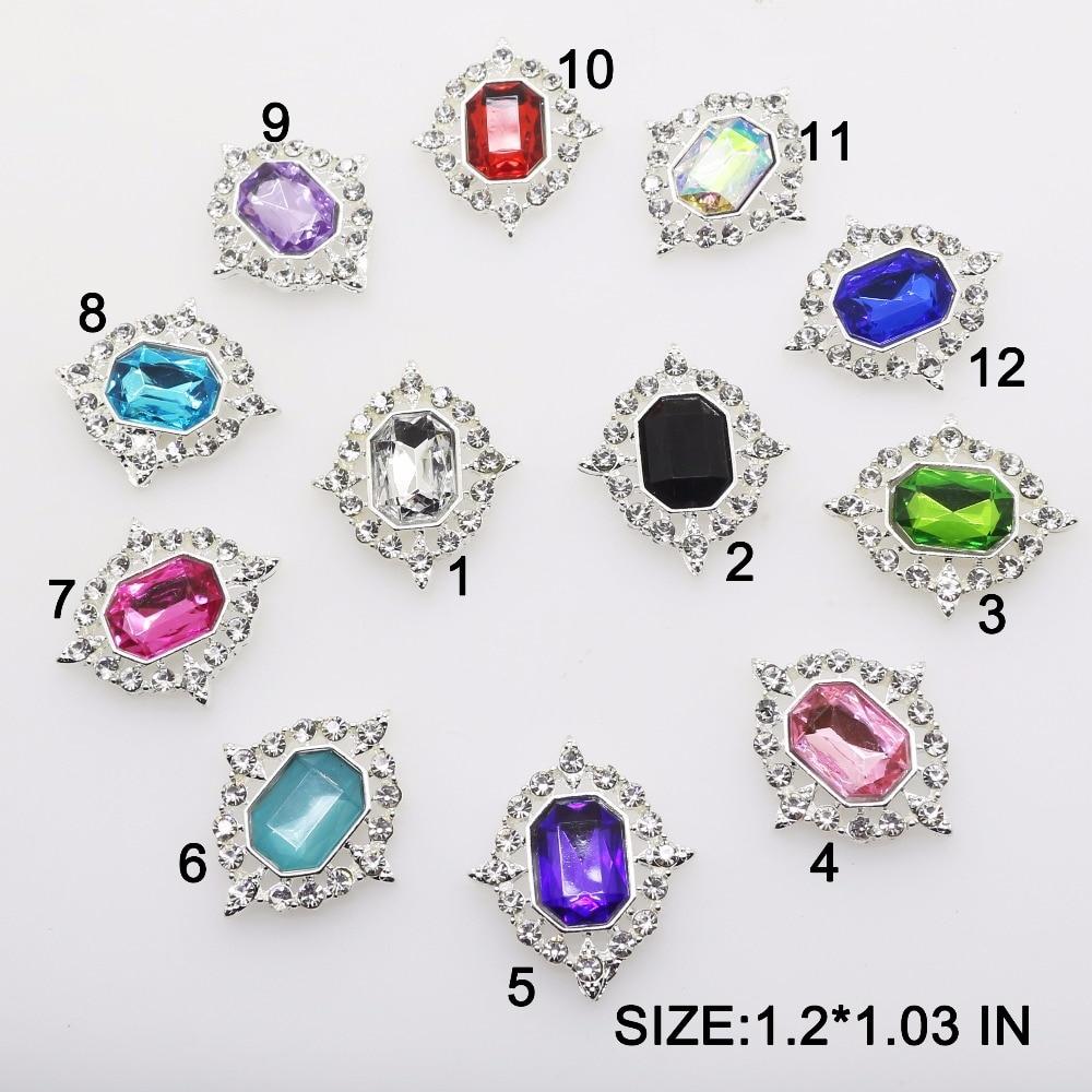 Лидер продаж 10 шт./лот 1,2 inch * 1,03 inch сплав, акриловый горный хрусталь плоская кнопка украшение diamond брошь