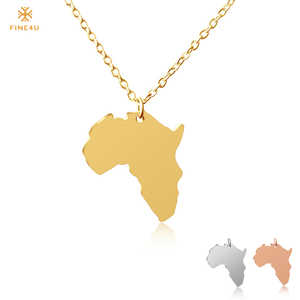 FINE4U N127 Map of Africa Necklaces Pendants For Women 316L Stainless Steel African Maps Necklace Ethiopian Jewelry Wholesale