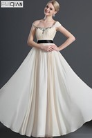 Free Shipping Elegant Cap Sleeves Beaded Neckline Black Sash Chiffon Evening Dress