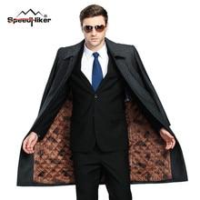 [Speed Hiker]Мужское Зимнее платье из Шерсти , Пальто На Открытом Воздухе ,длинное Пальто из Кашемира для ддентльмена , Внутрь x-лонг Теплые Шерстяные Одежды Плюс Размер 3XL 4XL K8121