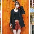 Coreano Moda Plus Size Jakcets Blazers Ternos de Manga Longa Mulheres Casuais OL Preto Escritório Blazer Outwear Feminino E577