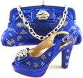 Nueva Llegada de Zapatos A Juego Y Conjunto de Bolsas de Alta Calidad de Estilo Africano señoras de Los Altos Talones Zapatos Y Bolso de Set Para El Vestido de Fiesta Azul ME6609