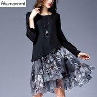 Autumn Winter Chiffon Patchwork Dress O Neck Lanterm Sleeve Print Women Clothes Spring Dress Plus Size