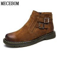 Stivali da uomo di moda in vera pelle alla caviglia stivali fibbia decorazione zip scarpe casual uomini stivaletti mocassini formato 39-44 929 m