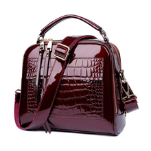 Patent leather shell bag Mummy travel portable diagonal large capacity zipper care baby storage
