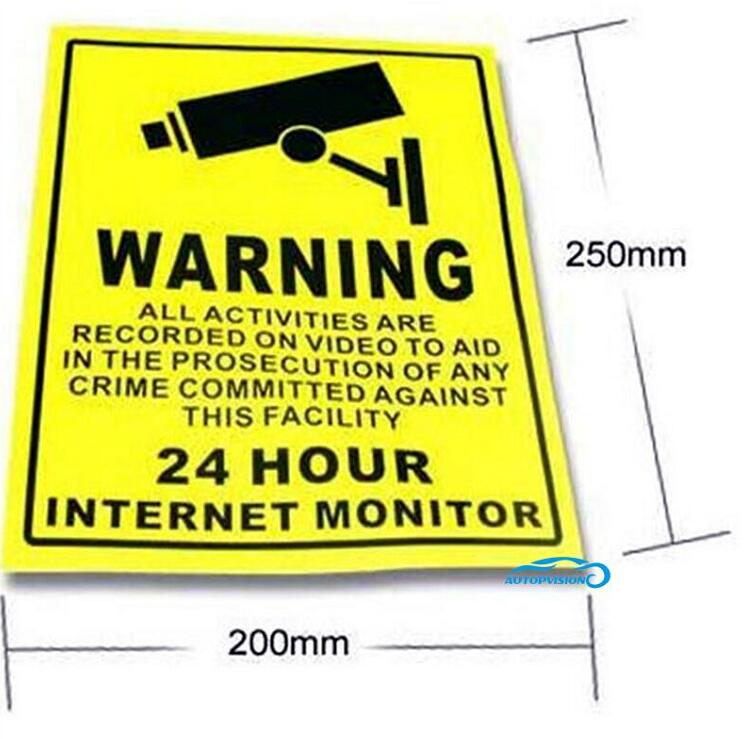 20pcs Sticker Warning Decal Signs Home CCTV Surveillance Security Camera Yellow