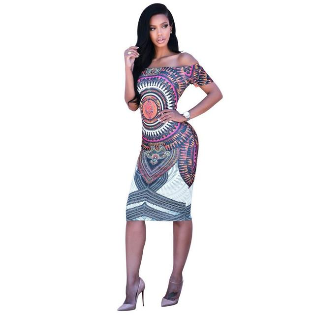 1fa98de0c7a Spring Autumn Fashion Women Dress Pluz Size Sheath Dress Traditional  African Print Dashiki Bodycon Sexy Short Sleeve Dress  LRSW