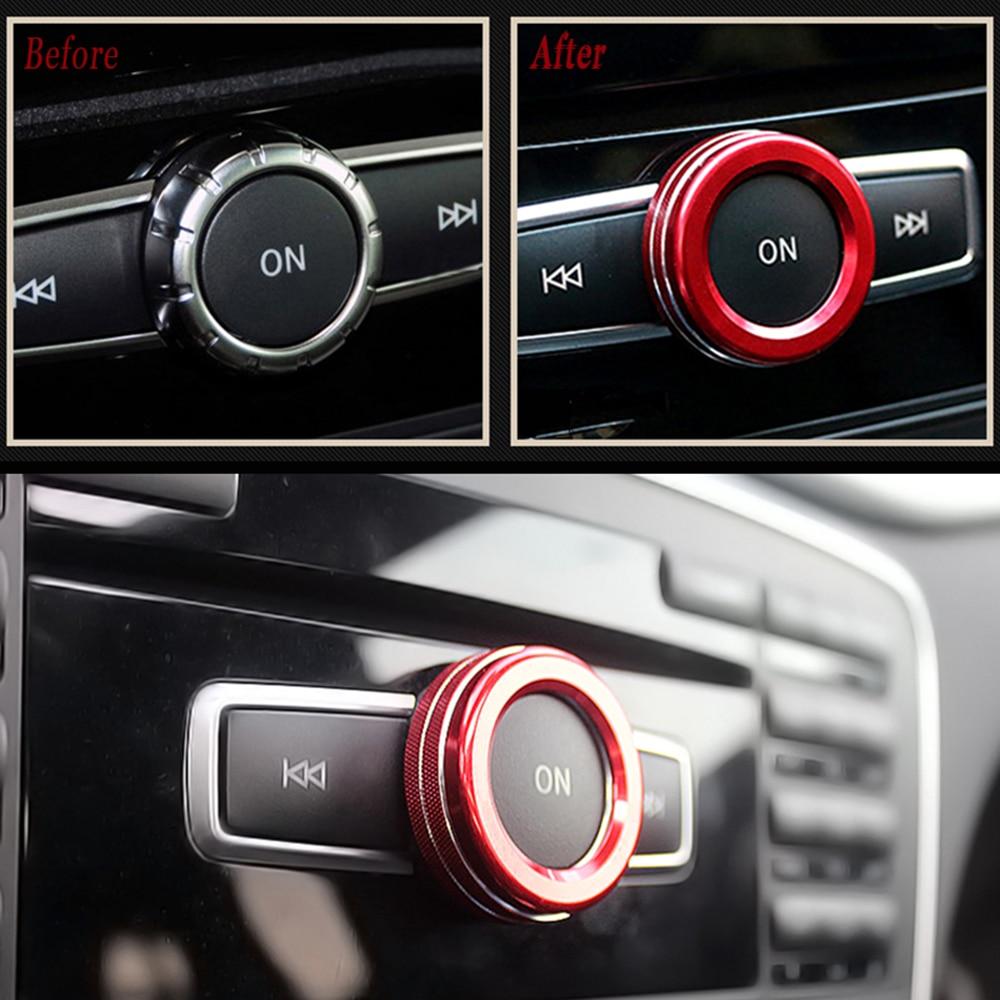 Araba ses düğmesi dekorasyon halka Sticker Mercedes Benz A B sınıfı GLK GLA CLA GLE ML GL MB W176 w246 C117 AMG parçası araba Styling